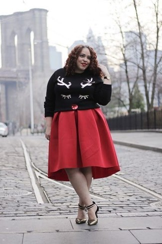 How to wear: black christmas sequin crew-neck sweater, red full skirt, gold leather pumps, black leather watch