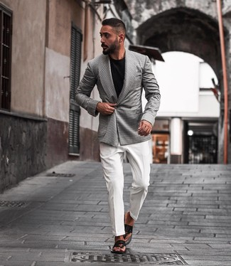 How to wear: black leather flip flops, black crew-neck t-shirt, white dress shirt, white and black houndstooth double breasted blazer