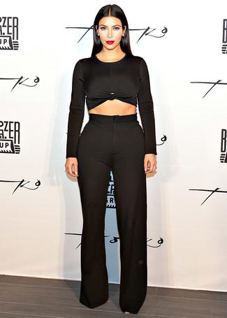 Kim Kardashian wearing Black Cropped Sweater, Black Wide Leg Pants