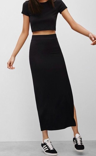 b5996447b How to Wear a Black Maxi Skirt In Summer (35 looks   outfits ...