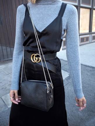 How to wear: black leather belt, black leather crossbody bag, black satin cami dress, light blue turtleneck