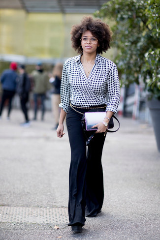 How to wear: gold belt, black leather crossbody bag, black flare pants, black and white gingham long sleeve blouse