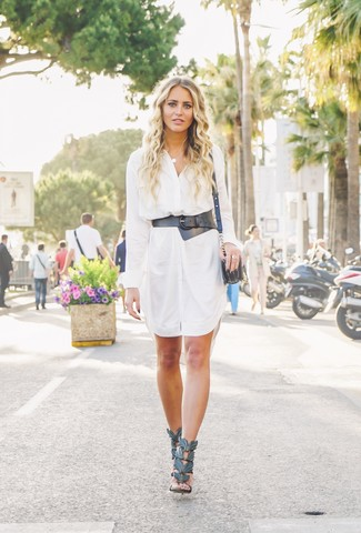 How to wear: black leather waist belt, black leather crossbody bag, black leather heeled sandals, white shirtdress