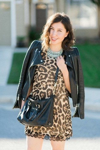 How to wear: clear necklace, black leather crossbody bag, tan leopard shift dress, black leather biker jacket