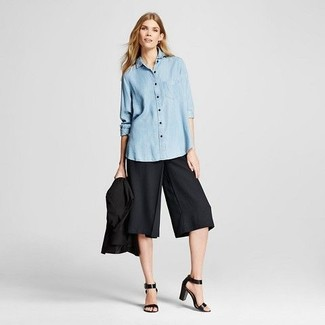 How to wear: black leather heeled sandals, black culottes, light blue chambray dress shirt, black blazer