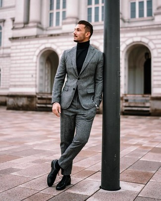 How to wear: black socks, black leather derby shoes, black turtleneck, grey wool suit