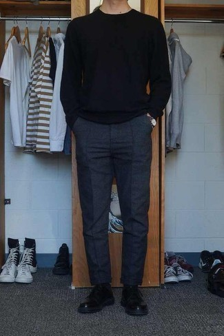 Fashion for 30 Year Old Men: What To Wear: If you wish take your casual style to a new level, try teaming a black crew-neck sweater with charcoal wool chinos. If you wish to effortlesslly amp up this ensemble with shoes, add black leather derby shoes to the mix.