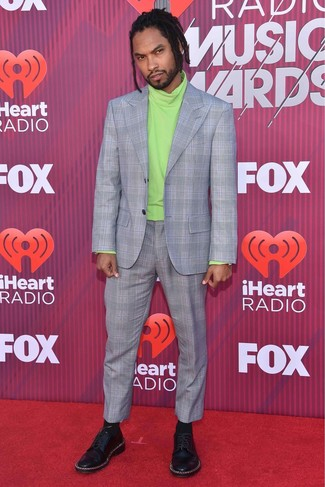 How to wear: black socks, black embellished leather derby shoes, green-yellow turtleneck, grey plaid suit