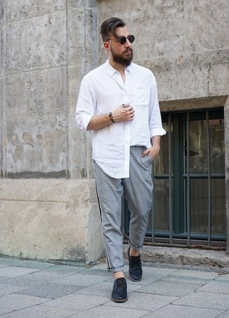 How to wear: black sunglasses, black leather derby shoes, grey plaid chinos, white long sleeve shirt