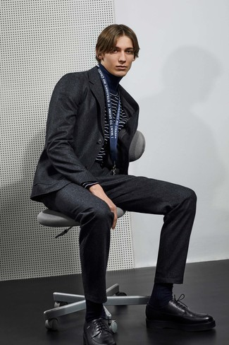 How to wear: black socks, black leather derby shoes, navy and white horizontal striped turtleneck, charcoal wool suit