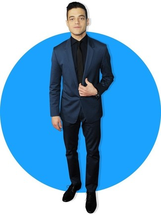 How to wear: black tie, black suede derby shoes, navy dress shirt, navy suit