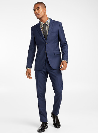 How to wear: black floral tie, black leather derby shoes, white floral dress shirt, navy suit