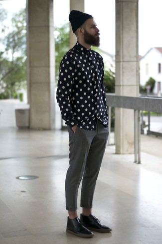 How to wear: black beanie, black leather desert boots, grey chinos, black and white polka dot long sleeve shirt