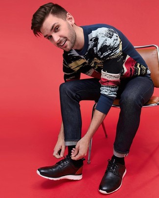 How to wear: black socks, black leather desert boots, navy jeans, navy print crew-neck sweater