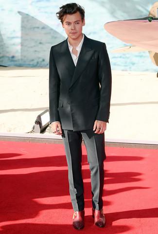 Men S Black Double Breasted Blazer White Long Sleeve Shirt Black
