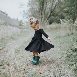 How to wear: black dress, dark green rain boots