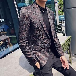 How to wear: black dress pants, black crew-neck t-shirt, black brocade blazer