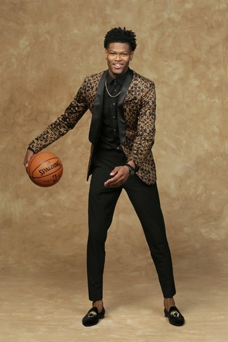 How to wear: black embroidered velvet loafers, black dress pants, black dress shirt, black and gold blazer