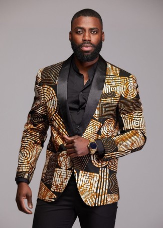 How to Wear a Gold Watch For Men: Why not pair a black and gold print blazer with a gold watch? Both pieces are totally comfortable and look nice married together.