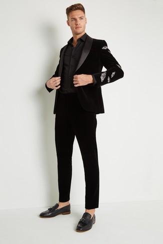 How to wear: black velvet tassel loafers, black velvet dress pants, black dress shirt, black velvet blazer
