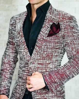 How to wear: burgundy silk pocket square, black dress pants, black dress shirt, red tweed blazer
