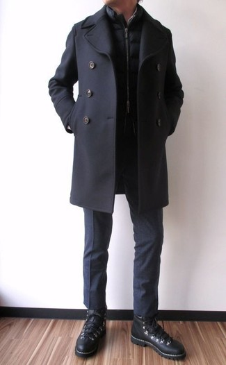 How to wear: black leather high top sneakers, black dress pants, black quilted gilet, black pea coat