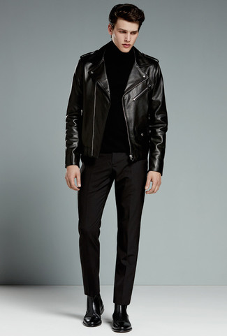 How to wear: black leather chelsea boots, black dress pants, black turtleneck, black leather biker jacket