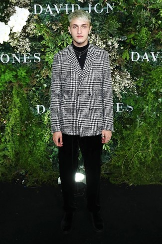 How to wear: black suede chelsea boots, black velvet dress pants, black turtleneck, white and black houndstooth double breasted blazer