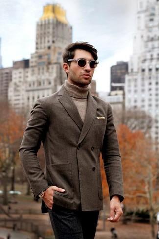 How to wear: dark brown sunglasses, black wool dress pants, tan turtleneck, dark brown double breasted blazer
