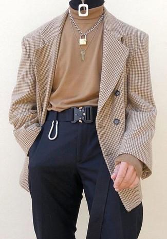 How to wear: black canvas belt, black dress pants, tan turtleneck, tan check double breasted blazer