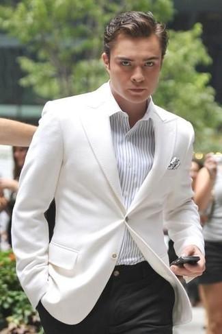 How to wear: white polka dot pocket square, black dress pants, white vertical striped dress shirt, white blazer