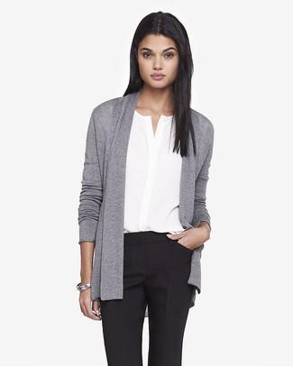d4c4425e2 How to wear: silver bracelet, black dress pants, white silk sleeveless button  down