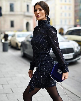 How to wear: black tights, black earrings, blue velvet crossbody bag, navy chiffon sheath dress