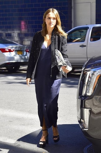 Jessica Alba wearing Black Embellished Jacket, Navy Slit Maxi Dress, Black Suede Heeled Sandals