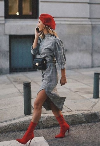 How to wear: red beret, black leather fanny pack, red elastic ankle boots, grey plaid sheath dress