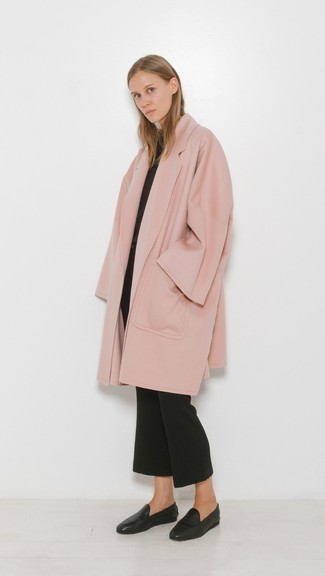 How to wear: black leather loafers, black flare pants, black crew-neck sweater, pink coat