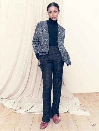 How to wear: brown leather tassel loafers, black check flare pants, black turtleneck, grey knit cardigan