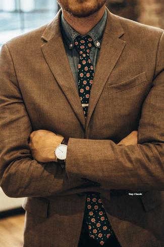 How to wear: black floral tie, blue chambray long sleeve shirt, brown herringbone blazer
