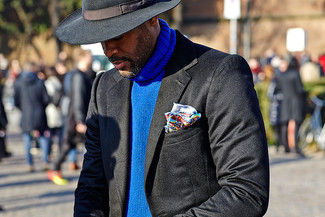 How to wear: multi colored print pocket square, black wool hat, black wool hat, blue knit turtleneck