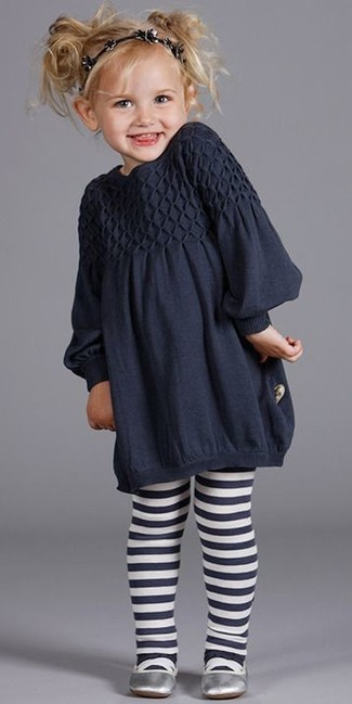 How to Wear Navy Tights Smart Casually For Girls: People will drool all over your kid if she is dressed in this combo of navy dress and navy tights. Finish this ensemble with silver ballet flats.