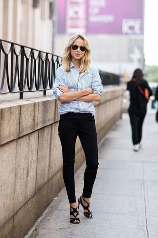 1c74bd06 How to wear: black sunglasses, black leather heeled sandals, black skinny  pants, Black Sunglasses White and Blue Vertical Striped Dress Shirt ...