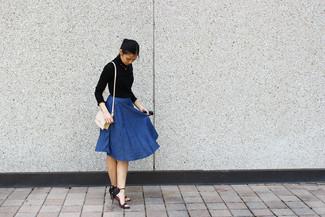 How to wear: beige leather crossbody bag, black leather heeled sandals, blue denim full skirt, black turtleneck