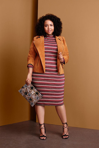 How to wear: gold beaded clutch, black suede heeled sandals, burgundy horizontal striped sweater dress, tan suede biker jacket