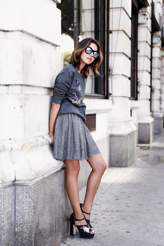 How to wear: silver sunglasses, black embroidered suede heeled sandals, grey skater skirt, charcoal print sweatshirt