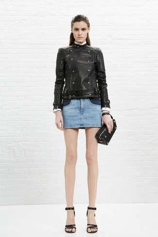 How to wear: black leather clutch, black leather heeled sandals, light blue denim mini skirt, black leather biker jacket