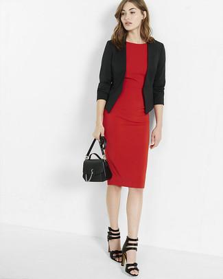 How to wear: black leather crossbody bag, black leather heeled sandals, red sheath dress, black blazer