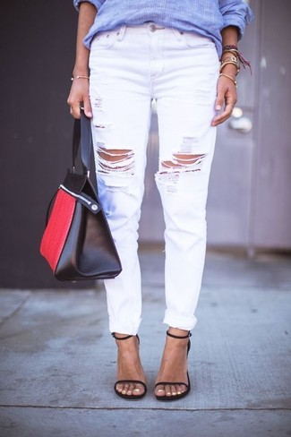 How to wear: red and black leather tote bag, black leather heeled sandals, white ripped boyfriend jeans, blue vertical striped dress shirt