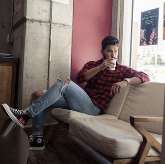 How to Wear Light Blue Ripped Jeans For Men: For a laid-back outfit with an edgy finish, you can always rely on a red and black gingham long sleeve shirt and light blue ripped jeans. Black print canvas high top sneakers integrate seamlessly within a great deal of outfits.