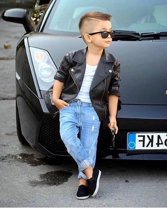 How to wear: black leather jacket, white t-shirt, blue jeans, black sneakers