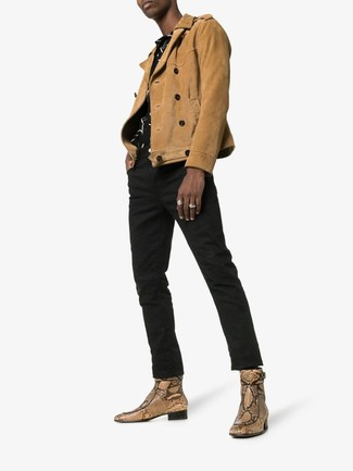 How to wear: tan snake leather chelsea boots, black jeans, black and white print short sleeve shirt, tan suede biker jacket